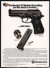 1994 BERETTA 92D Pistol AD Collectible Firearms Memorabilia Gun Advertising