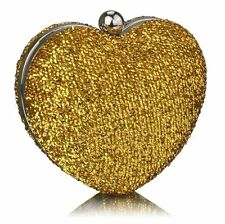 New Gold Glittery Heart Evening Clutch Bag Wedding Proms Cruises Party's Gifts