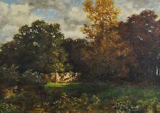 Théodore ROUSSEAU (1812-1867) antik - Gemälde: ALTE PARKANLAGE MIT SCHLOSS-RUINE