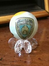 NYPD NEW YORK CITY POLICE DEPARTMENT ONE INCH GLASS MARBLE W/STAND