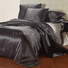 NEW Charcoal Grey Satin Quilt Cover King Size Silk Feel Doona Duvet Gray Bed Set