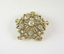 Vintage Star Pin Brooch White Rhinestone Snowflake Round Gold Tone Lapel Hat