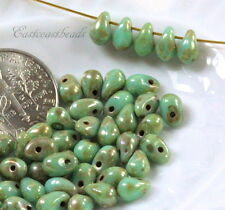 Tear Drop Beads, Small 4x6mm, Turquoise w/Silverish Picasso Finish, 50 Beads