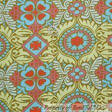 BonEful Fabric Cotton Quilt Amy Butler Belle Green Pink Blue Flower Damask SCRAP