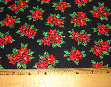 1 yd POINSETTIA on BLACK 100% Cotton Fabric WINDHAM PAPER DOLL CHRISTMAS