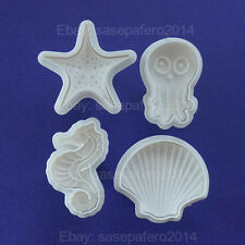Octopus, Seahorse, starfish & shell Plunger cookie cutter with stamp.