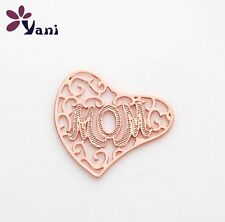 "New Floating charm 22mm ""Mom""Rose Gold Lockets for glass Living Memory Locket"
