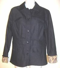 Jared Ross(August Silk) Fitted Black Denim Lined Jacket Blazer Size 10 NWT