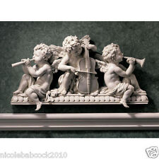 "19.5"" BAROQUE CLASSICAL ANGEL MUSICIANS WALL SCULPTURE DOOR PEDIMENT VIOLIN LOVE"