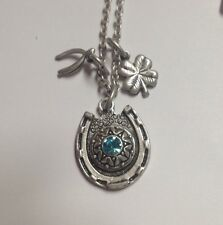 March Birthstone-Cowgirl Jewelry Necklace- Lucky horseshoe -AQUA -Silver Tone-