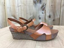 Womens Clarks Softwear Brown Leather Peeptoes Slingback Wedge Shoes - UK 4 EU 37