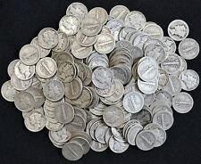 Lot of 10 Silver Mercury Dimes $1.00 Face 1920's - 1940's