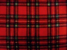 POLAR FLEECE TARTAN RED BLACK GREEN CHECK FABRIC BLANKET HAT THROW JACKET