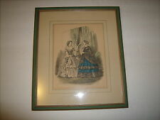 La Mode Illustree Fashion Print of Bride and Friend. Tinted Victorian - Paris