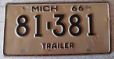 Michigan 1966 TRAILER License Plate # 81-381