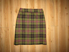Boden, 100% wool green pink tweed tartan checked skirt, size 8L.