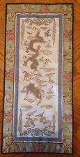 Chinese Embroidered Silk Panel Deagon Gold Thread