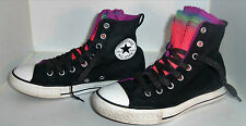 CONVERSE Girl's Rainbow Fishnet Black Hightop Chuck Taylor Sneakers Size 2 uk