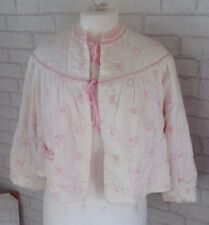 Vintage 1950 Gleves Ltd London White and Pink Embroidered Flower Bed Jacket Coat