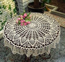36'' Round Handmade Knitted Crochet Sunflower Lace Table Cloth Party Decor Gift