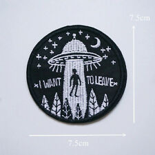 New Embroidery UFO Alien Flying Saucer Sew Iron On Patch Badge Bag Hat Applique