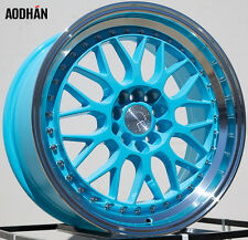 AODHAN AH02 17x8 5x100 / 5x114.3 +35 Tiffany Blue Machined Lip (PAIR) wheels