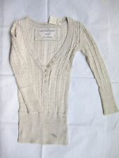 New Abercrombie Girls Ivory Vintage Jersey Pullover V Neck Cable Sweater size S