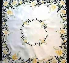 "Lovely Lilies Flower Lace 33"" Table Topper Doily Yellow Flowers Lily Easter"