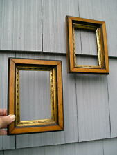 Unusual Pair Aesthetic Eastlake Victorian Gold Liner Picture Frames 4 1/4~6 5/8