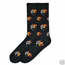 K.Bell Men's Pair Socks Flaming Racing Flag Arch Compression Black Mens Sock New