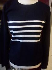 j crew nwt cotton striped sweater navy white small