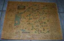 1935 ROMANCE MAP OF THE NORTH COUNTRY PICTORIAL HISTORICAL NORTHERN NEW YORK NY