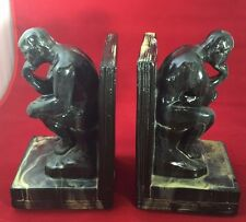"""Vintage Rodin's """"The Thinker"""" Ceramic Bookends - Black Marble-Look Finish"""