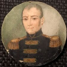 Portrait miniature d'un adjudant commandant de place 1ère Empire