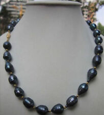 Hot NEW Sell 9-10MM NATURAL SOUTH SEA BLACK PEARL NECKLACE 18''AAA