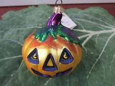 Vintage Polanaise Kurt S Adler Blown Glass Pumpkin Halloween Ornament Decoration