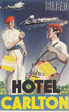 Vintage Luggage Label HOTEL CARLTON Bilbao Spain Musicians Drummers Crew Boats