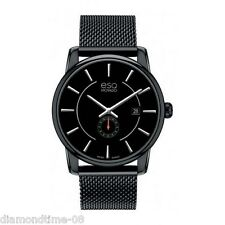 NEW ESQ by MOVADO CAPITAL BLACK ION-PLATED  MESH BRACELET MEN'S WATCH 07301445