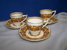 CROWN DUCAL florentine    THREE DEMITASSE CUPS AND SAUCERS