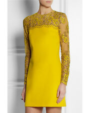 Sunny Días: Christopher Kane Resort 2015 Amarillo Crepe & Lace Shift Vestido UK6