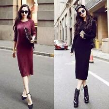 Winter Women Long Sleeve Knit Casual Slim Sweater Bodycon Jumper Mini Dress