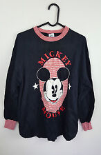 VTG RETRO WOMENS MICKEY MOUSE DISNEY WORN LONG TOP SWEATER JUMPER TOP UK L