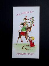 #L2- Vintage Unused Xmas Greeting Card Eve Rockwell Angels Decorating Deer