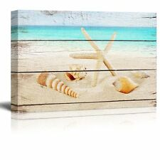 "Canvas Prints Wall Art - Starfish and Seashells on the Beach - 16"" x 24"""
