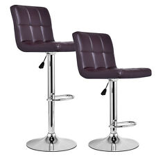 Set of 2 Modern Leather Bar Stools Adjustable Hydraulic Counter Swivel Pub Chair
