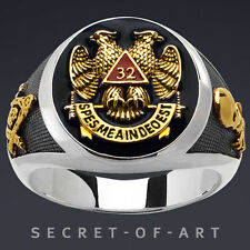 MASONIC RING SCOTTISH RITE AASR 32 DEGREE MASTER SILVER 24K-GOLD-PLATED PARTS