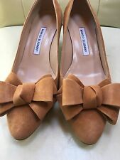 NEW MANOLO BLANIK  Contina Brown Camel Suede Bow Pumps SHOES Size 40.5