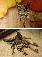 Woman Retro Antique Vintage Bronze Lock Skeleton Heart Keys Pendant Necklace