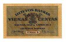 Lithuania … P-7a … 1 Centas … 1922 … *UNC*  Seria O.