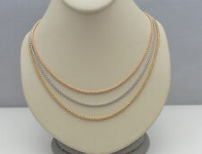 "14K LADIES COLLAR TRI COLOR GOLD MESH WIRE NECKLACE CHAIN 17"" INCHES"